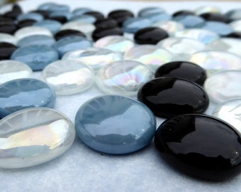 Slate Blue and Black Mix Flat Back Glass Gems Mosaic Tiles - Set of 25 Blue and Black and Clear Cats Eye Vase Fillers