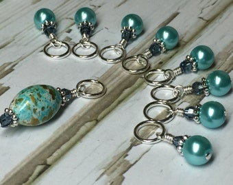 Knitting Stitch Markers -  Aqua Blue SNAG FREE Beaded Stitch Markers - Gifts for Knitters - Crochet Markers - Tools - Supplies