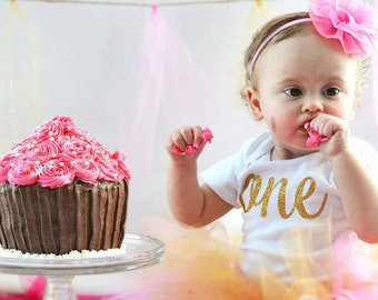SALE first birthday gold glitter short sleeve or long sleeve 6-12m, 12m, 18m, or 24m bodysuit