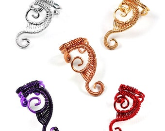 Woven Swirly Ear Cuff Ear Wrap Clip On Earring Cartilage Wrap Double Spiral Ear Cuff Multiple Color Choices