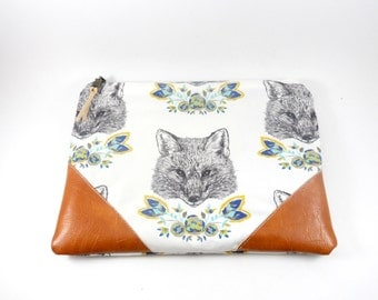 Fox  and Vegan Leather Corner Zippered Pouch