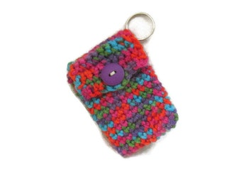Multicolor Rainbow Crocheted Keychain Pouch - Blue - Green - Pink - Orange  - Item 20160105