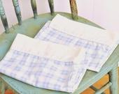 Vintage Pillow Cases Set Pair Pale Blue & White Check Plaid w/ Wide White Cuff Laura Ashley w/ Piping Trim