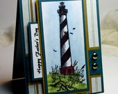 "Father's Day Card - Handmade Greeting Card - 3D Card - 4.25 x 5.5"" Happy Father's Day Lighthouse Masculine Watercolor Ocean OOAK"