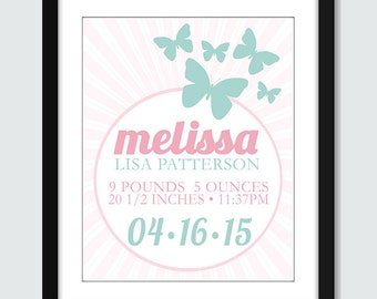 Baby Shower Gift, Nursery Decor, Butterfly Print, Butterfly Birth Announcement Wall Art - 8x10, 5x7 Baby Children Nursery Wall Print Poster