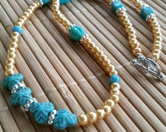 ON SALE-Veronica Necklace in Golden fresh water pearls & Turquoise Glass w/Silver accents-Bright-blue-floral-Honey-boho-hippie-country