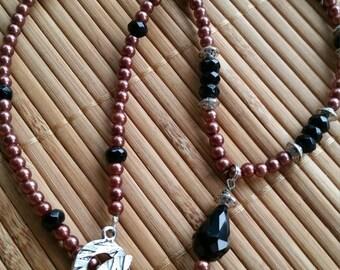 Katareen Necklace in Silver w/Black Glass & Purple/Bronze glass pearls-teardrop-Regal-Romantic-dark-beaded-Mysterious-Boho-Elegant