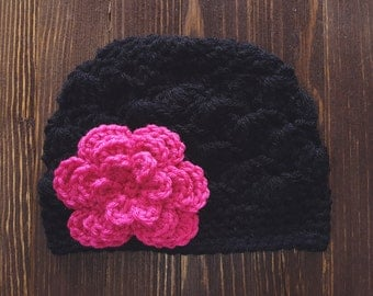Girls Hat, Black and Hot Pink Girl Hat, Newborn Girl Hat, Crochet Baby Hat, Crochet Girls Hat, Baby Girl Hat, Baby Hat for Girls