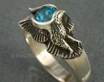 EAGLE WINGS, Ring made to order in your choice of 14k White, Yellow, or Rose Gold