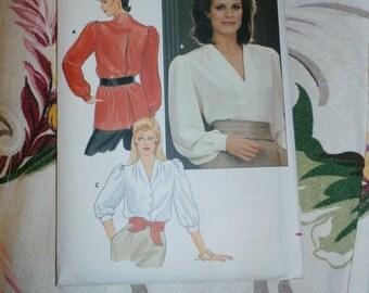 """1980s Butterick Pattern 6018 Misses Blouse, Size 14, Bust 36"""", Waist 28"""", Hip 38"""""""