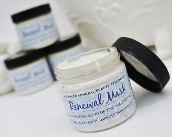 RENEWAL FACIAL MASK - home spa facial treatment, mineral mask, skin care, mint, beauty, face masque