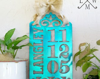 Metal Anniversary Sign / Wedding Sign / Engagement Photo Prop / Wedding Date Sign