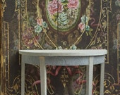 Curly gray veneer hand stained demi lune table Dollhouse Size
