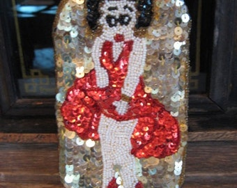 Betty Boop Sequin Beaded Bag Hollywood Rodeo California Laurent Beverly Hills