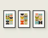 SWAN Mid Century Set no.1 - Collection of (3) Giclee Prints - Abstract Geometric Mid Century Modern