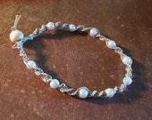 Tan Hemp Bracelet/Anklet 10, 6mm White Glass Pearl Beads 9 1/4 Inches Long Handmade