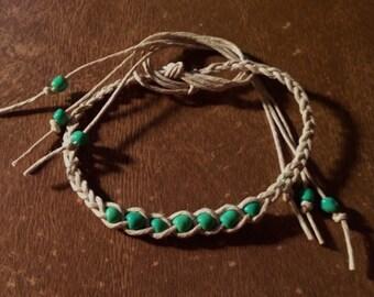 1 Hemp Wish Bracelet Green Beads Handmade Natural Hemp