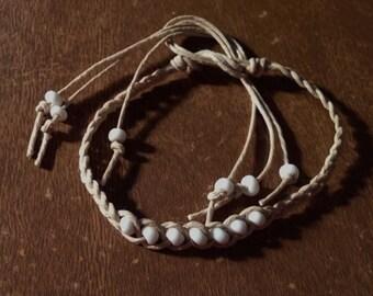 1 Hemp Wish Bracelet White Beads Handmade Natural Hemp