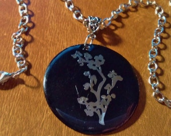 Clearance Silver Chain And Black And Silver Acrylic Pendant Necklace 20 inches Handmade