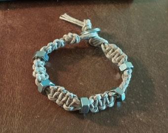 Thick Hemp Man Sized Bracelets Nuts And Washers Natural Polished Tan Hemp Survival Type Handmade