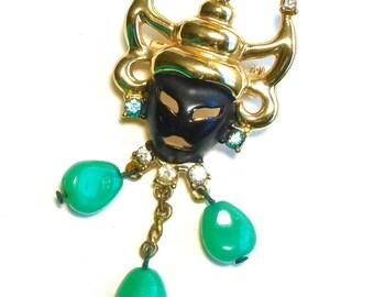 Vintage Asian Peking Glass Mask Brooch Faux Jade RARE