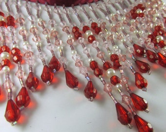 Beaded Fringe Trim in Red, Pink, Dusty Rose White Pearl 5 inch long Beaded Decorator Trim