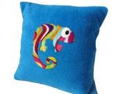 Turquoise rainbow Chameleon cushion