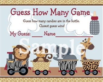 "Printable ""Safari Express/Jungle Animal Train"" Guess How Many Game Instant Digital Download"