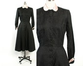 Vintage 50s Silk DRESS / Early 1950s Black & Powder Pink Silk Brocade Fit and Flare Belted Dress S