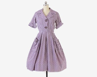 Vintage 50s GINGHAM DRESS / 50s Purple & White Check Short Sleeve Cotton Rockabilly Day Dress S
