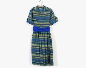 Vintage 50s Girl's Dress / 1950s Little Girl's Blue Folk Print Cotton Dress Kids 10 - 12