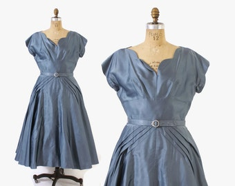 Vintage 50s Party DRESS / 1950s Shimmering Slate Blue Belted Full Skirt Cocktail Dress M