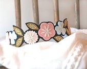 Flower Crown Headband - Floral Crown Headband - Hand Embroidered Felt Headband - Flowered Headband
