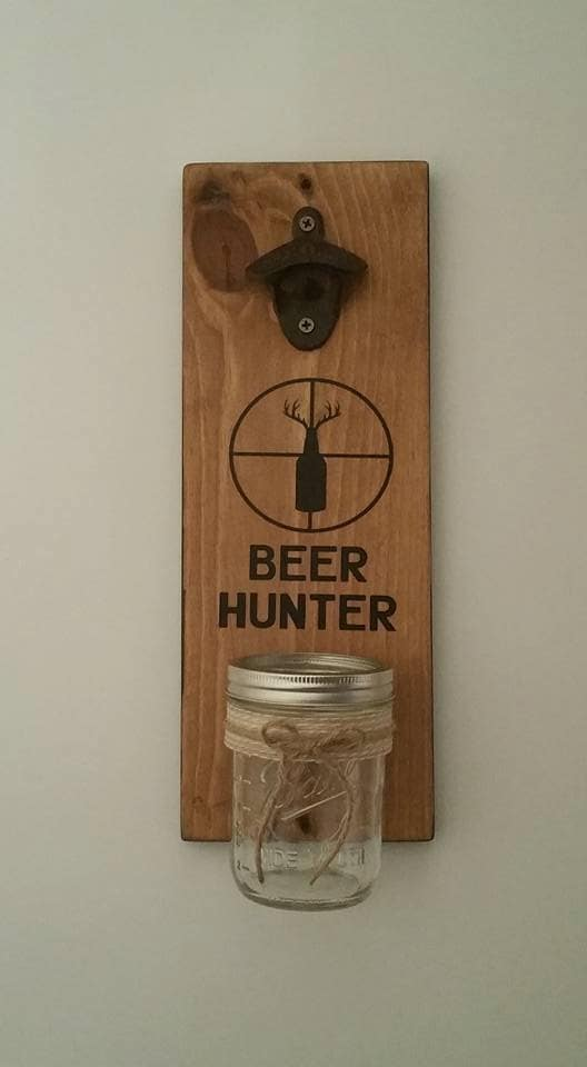 Wall mount bottle opener and mason jar cap by expressionsonsigns - Wall mounted beer bottle opener cap catcher ...
