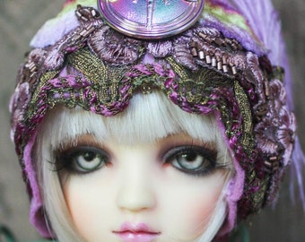 "Lavender ""Renee"" Felt With Dragonfly Button and Vintage Trimmed Cloche Hat For Ball Jointed Dolls"
