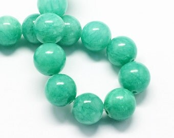 20 Jade Beads 8mm Aquamarine Gemstone Beads 8mm Set of 20 - BD988