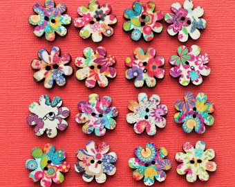 16 Painted Wood Buttons Floral Design Assortment 20mm BUT180 -