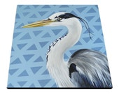 Great Blue Heron art, 20x20 square canvas painting, modern beach house decor