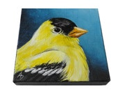 Gold finch painting, Goldfinch songbird art, mini original artwork, small bird portrait on tiny canvas