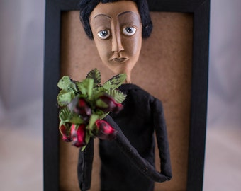 Andrew Donaldson the Optimistic Lawyer, Melandolly Paper Clay Doll in a Frame