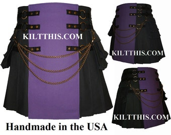 Interchangeable Black Purple Canvas Cargo Utility Kilt Custom Fit Adjustable Many Options