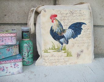 Shabby chic bag - Shabby chic tote Bag - Rooster Fabric no.2 - Country style tote - knitting bag - embellishments