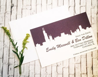 Wedding Save the Date or Invitation with Chicago Silhouette