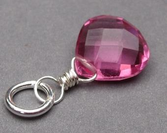 Pink Rubelite Quartz Charm,  Sterling Silver Wire Wrapped Pendant, Interchangeable Pendant Earrings Jewelry, Bracelet Charm, Stones 3