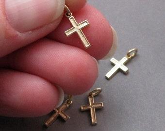 Petite Gold Cross Charm, Cross Pendant, Necklace Pendant, Bracelet Charm