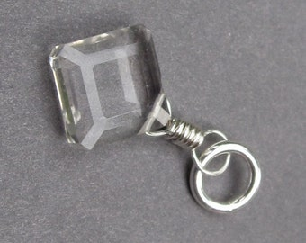 Clear Crystal Quartz Diamond Pendant, April Birthstone Charm, Sterling Silver Wire Wrapped Pendant, Crystal Dangle Charm