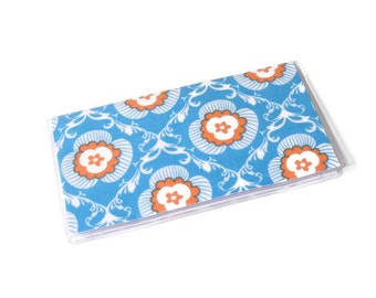 Checkbook Cover Turquoise Damask