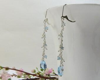 Blue Topaz & Freshwater Pearl Earrings, AA Quality Blue Swiss Blue Topaz w Tiny Freshwater Pearl w 925 Sterling Silver Leverback Earrings