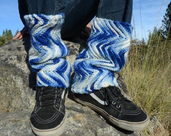 Men's Leg Warmers Crochet Chevrons Psychedelic Blue and White