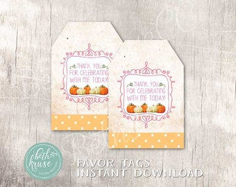 Our Little Pumpkin Printable Favor Tags INSTANT DOWNLOAD by Beth Kruse Custom Creations